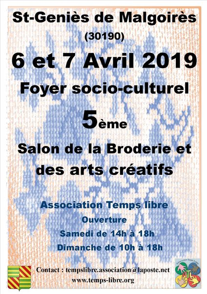 5ème salon de la broderie et des arts créatifs annoncé sur l'Agenda du Fil - agendadufil.fr